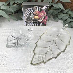 2 Vintage Leaf Ring Dishes Jewelry Trinket Dish